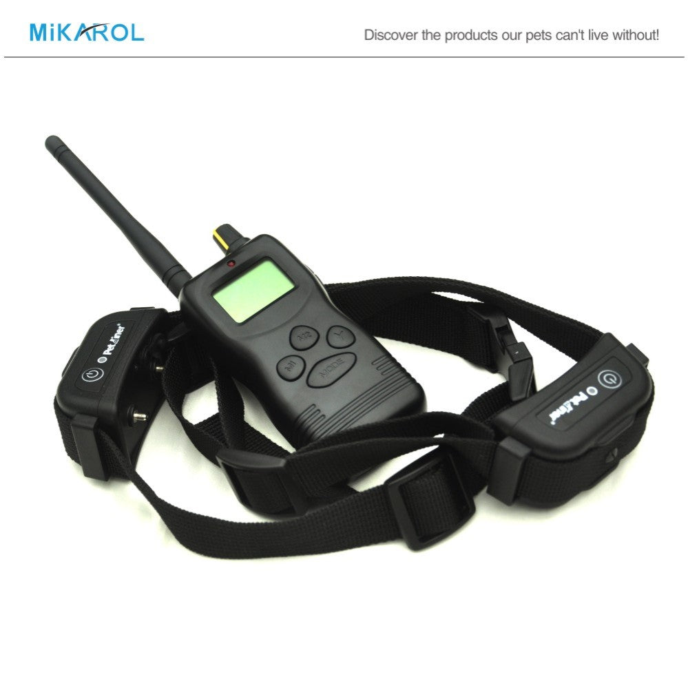 Dog electronic shock rechargeable waterproof dog training collar 1000M remote bark control stop barking