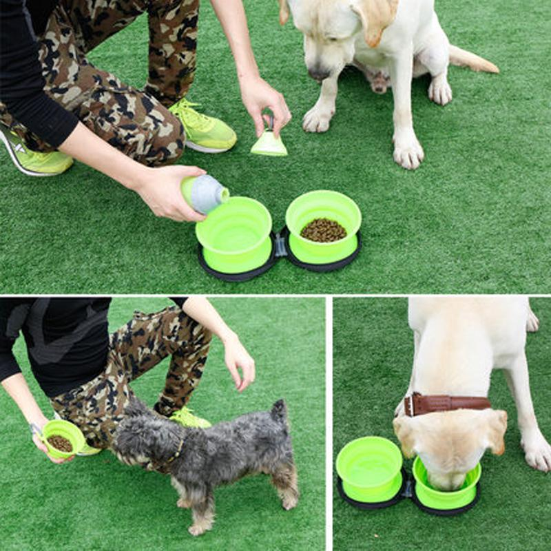Dog fold bowl, double food safe  folding pet bowl one food bowl one water bowl for dog and cat outdoor travel