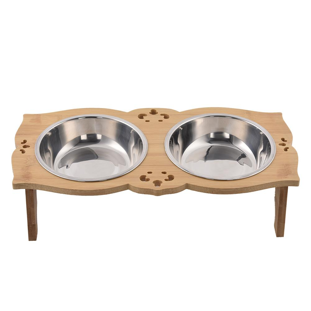 Dual Sections Solid Wood Rectangular Table Pet Double Bowl ...