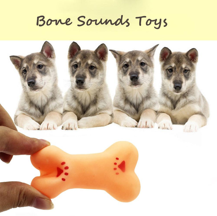 Durable Non-toxic Rubber Pet Puppy Toy Bone Reflected Sound Toys Pet Dog Training Fetch Fun Chew Bite Toys Wholesale #555