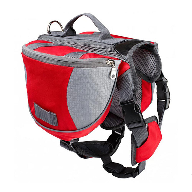 Durable Pet Backpack Dog Saddlebags Medium and Large Dogs Harness Bag for Outdoor Hiking Camping Training red