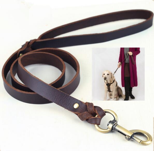 Durable Pet Dog Puppy Soft Genuine Leather Braid Lead Leash Training Traction Strap Outdoor Long Walking