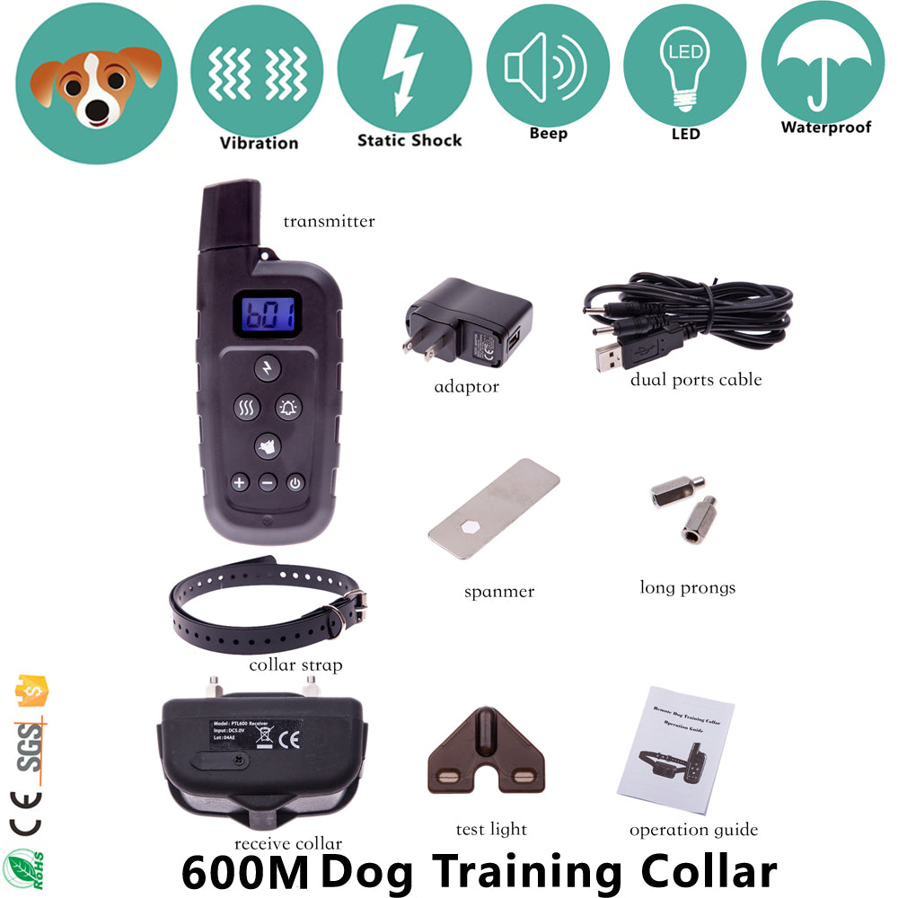 Electronic Dog Shock Collar Range 600M Remote Dog Training Collars with Vibration/Shock/Sound/Light