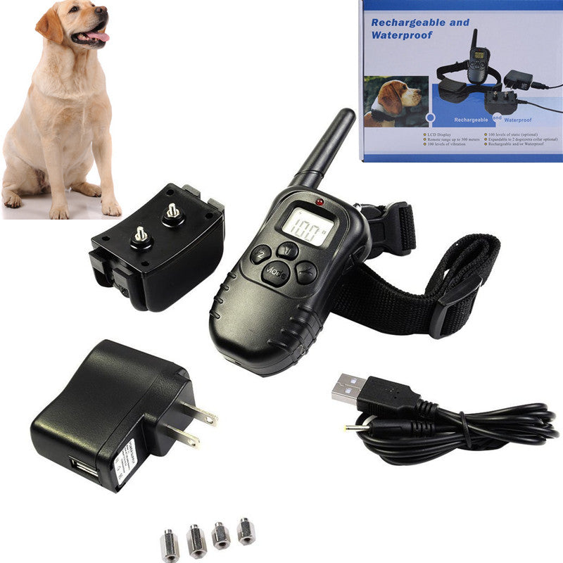Free shipping,300 meters control waterproof remote dog training collar set rechargeable bark stopper 998DR