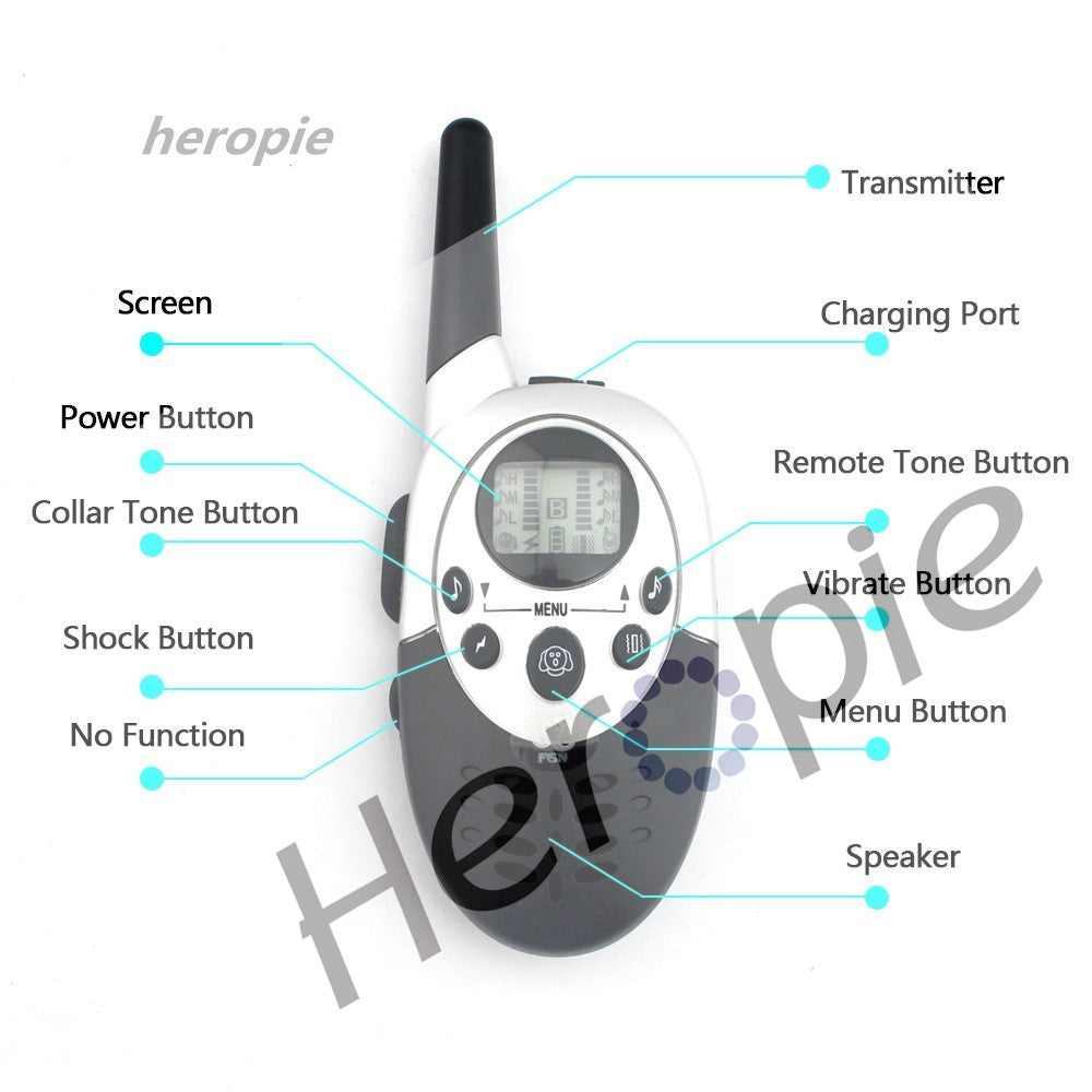 Heropie 1000M  Remote Pet Dog Training Collar Dog Trainer Water Resistant Rechargeable LCD Electric Shock Large Dog Control