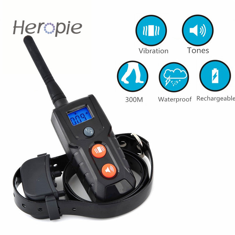 Heropie 300M LCD Remote Vibration and Tones Dog Trainer Waterproof Rechargeable Pet Cat Dog Training Collar