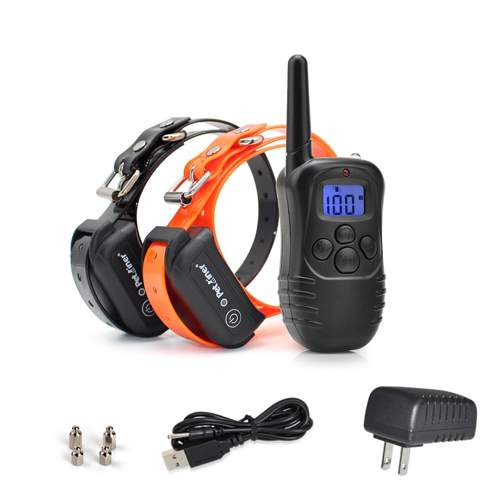 Heropie 300M Waterproof Rechargeable Adjustable Remote Blue LCD Electric Dog Training Shock Collar TPU Collar For 1 or 2 dog
