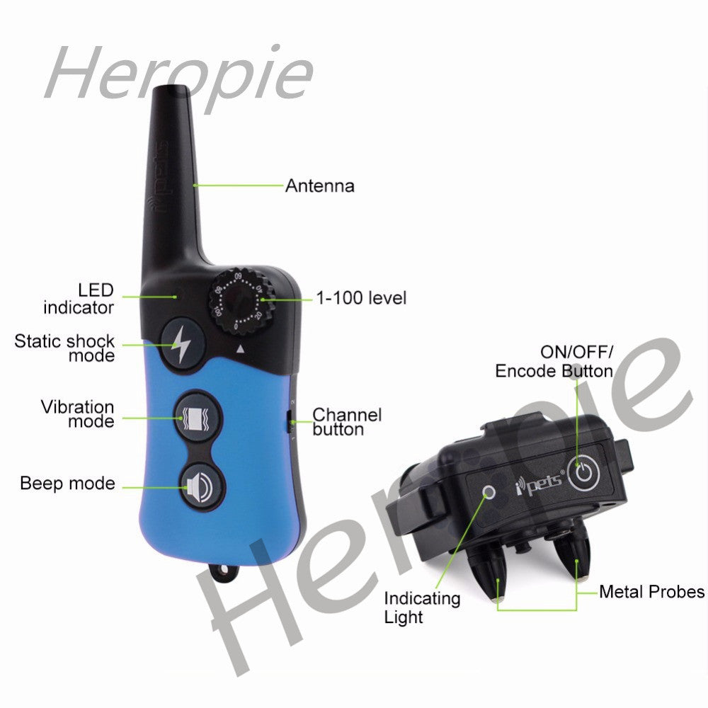 Heropie 300m Remote Training Collar Electric Dog Training Collar Large Dog Training Collars Bark Dog Collar