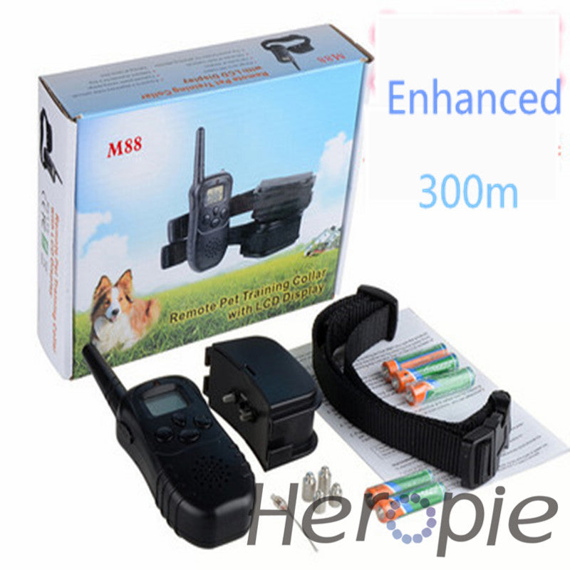 Heropie 300m upgrade Remote Pet Dog Training Collar Dog Trainer  LCD Electric Shock Dog Control  LED flashlight