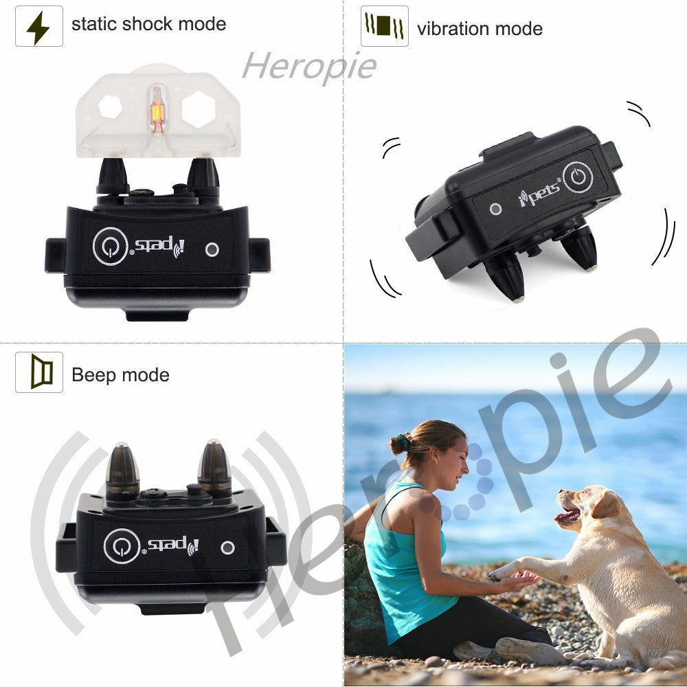 Heropie 330m Dog Training Collar Rechargeable Waterproof Vibration Static Shock Tone Electric Training Stimulations for All Dogs