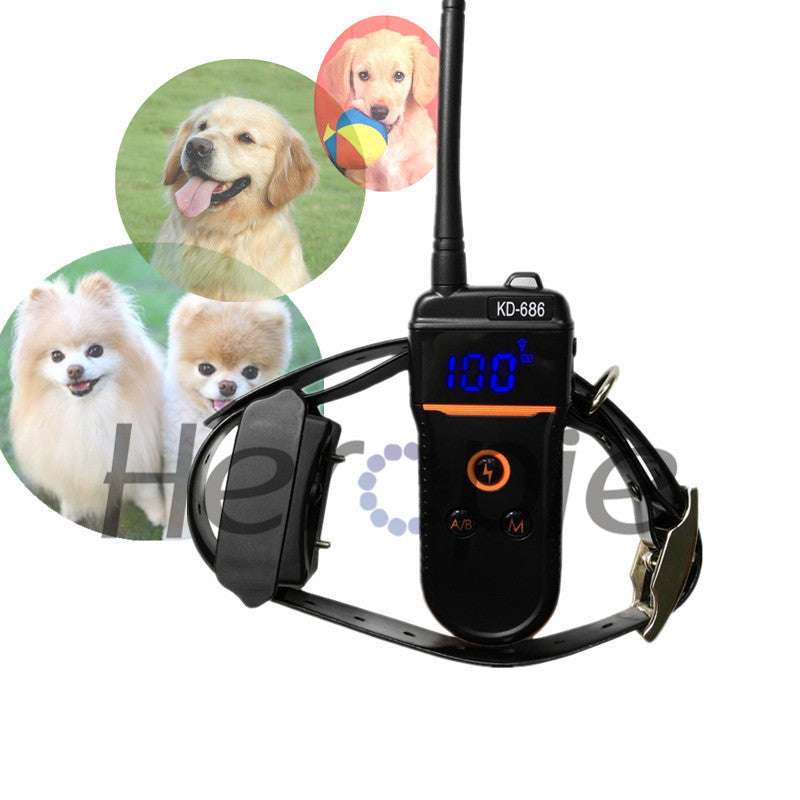 Heropie Newest night vision Pet dog trainer Rechargeable and Waterproof Dog Training Collar Remote electronic Shock control