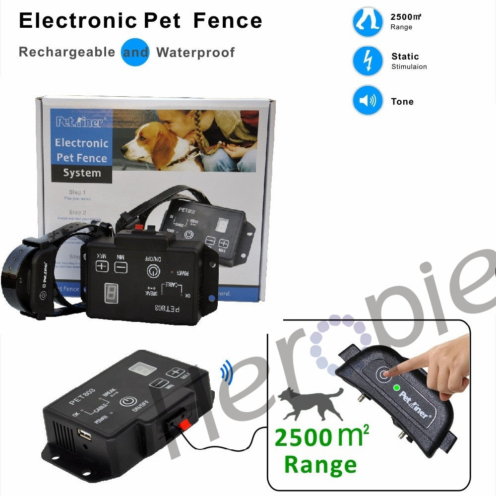 Heropie Newest type Petrainer PET803 Waterproof Rechargeable Electric Pet Fence Dog Training Collar
