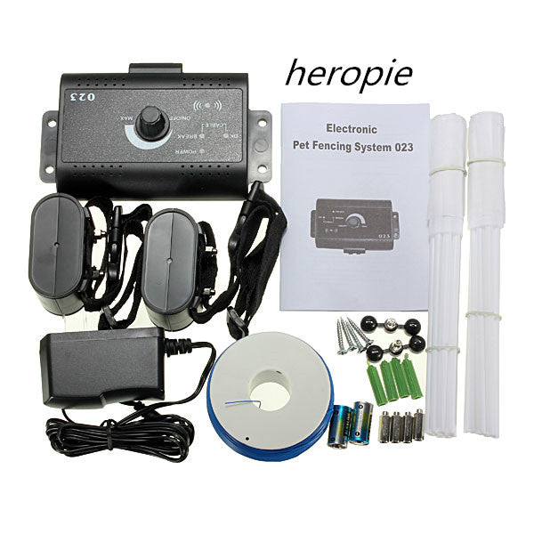 Heropie Waterproof Pet Dog Training Train Control Device Collar Underground In-Ground Electric Shock Fence Fencing System New