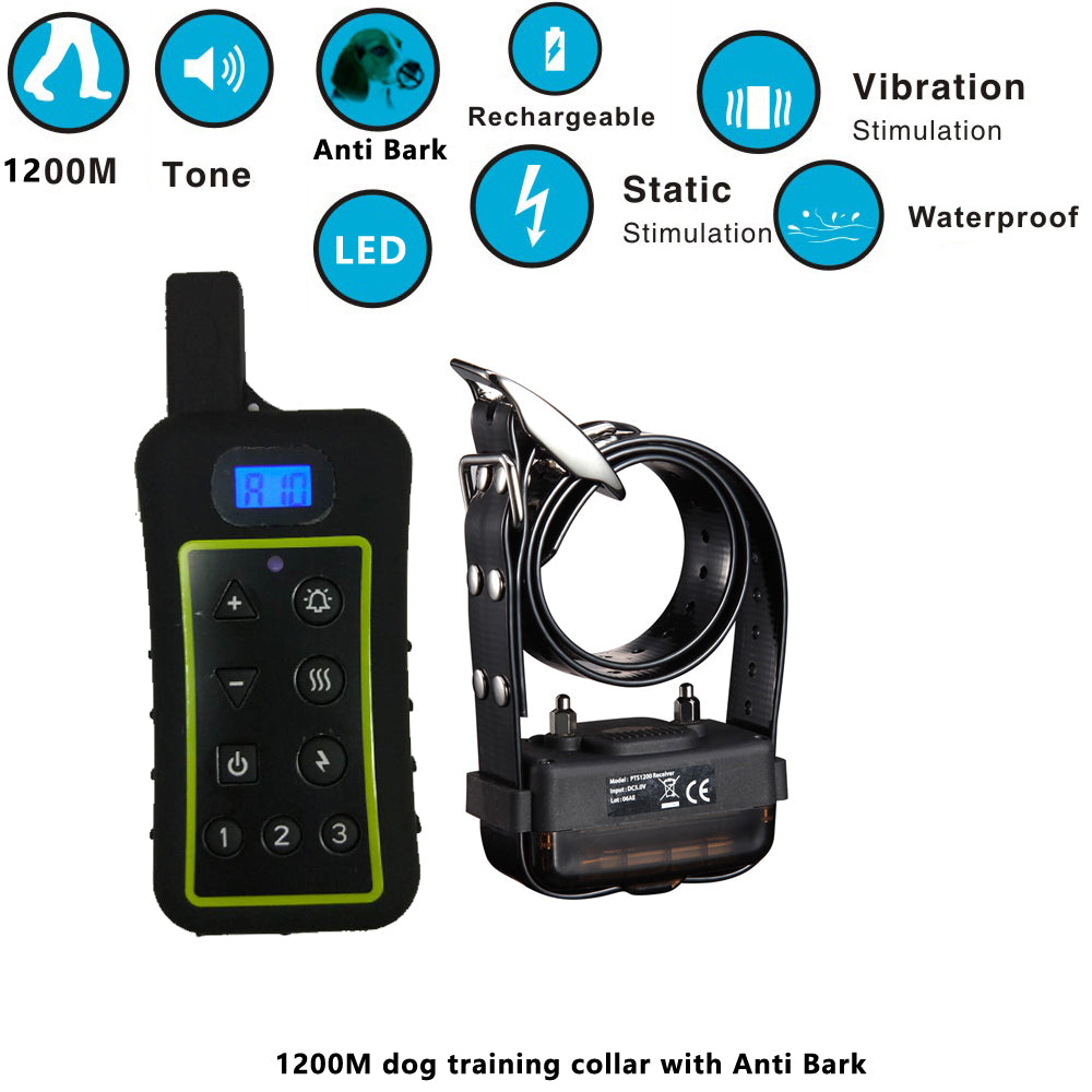 Hot Sale Anti Bark No Barking Remote Electric Shock Vibration Remote Pet Dog Training Collar with 1200m