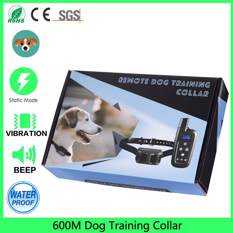 IPX7 Waterproof Rechargeable Dog Shock Training Collar 600m Remote Static Vibrat Dog Control