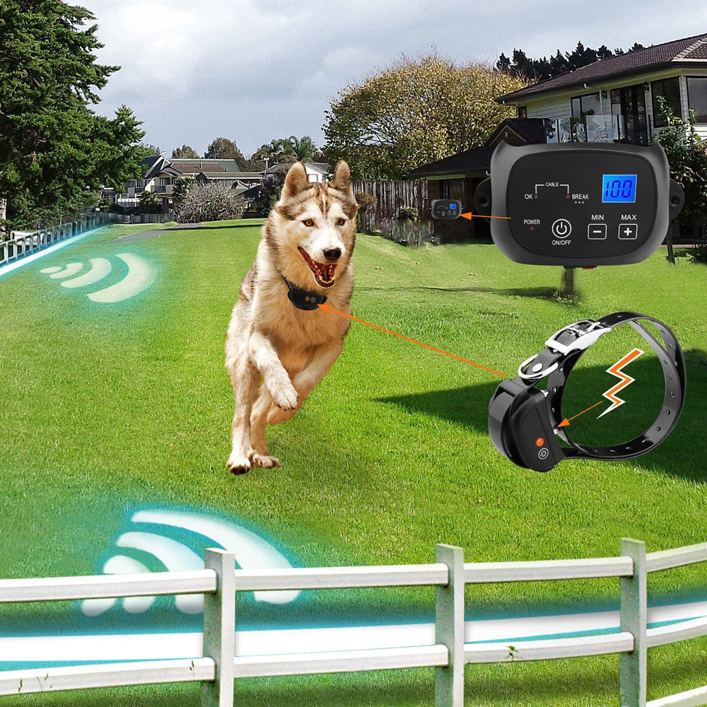 In-Ground Dog Fence System with 2500 Square Meters Coverage Static Shock and Beeper Training Collar