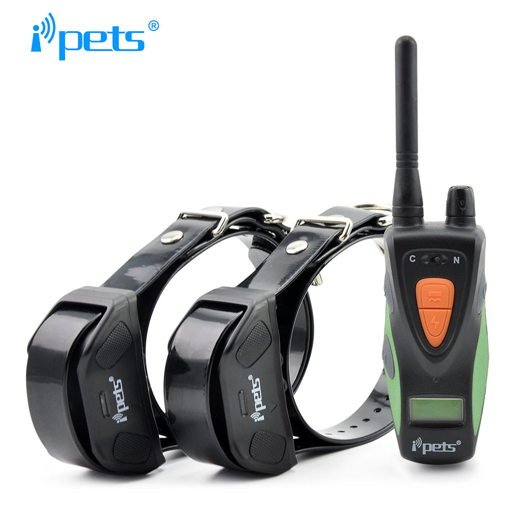 Ipets 617-2 800M 100LV Electric Shock Rechargeable Waterproof Dog Training Collar with LCD Display For 2 Dog