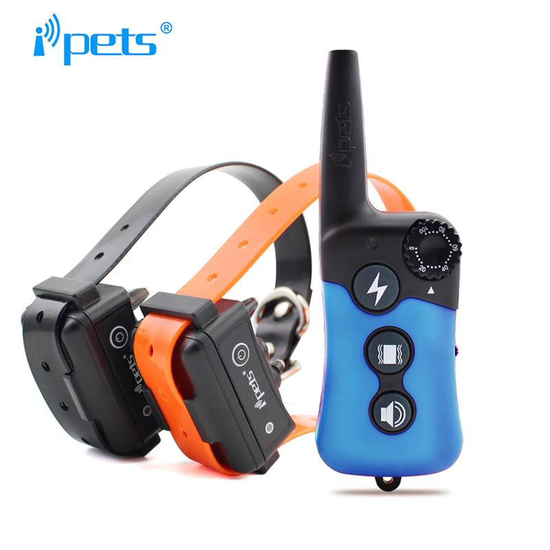 Ipets 619-2 Rechargeable and Waterproof Dog Training Collar Vibration and Shock Electric Collar For 2 Dogs
