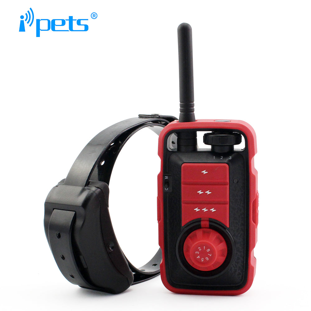 Ipets PET610-1 New Arrived 800M Remote Waterproof And Rechargeable Vibration Electric Shock Training Collar For Big Dogs