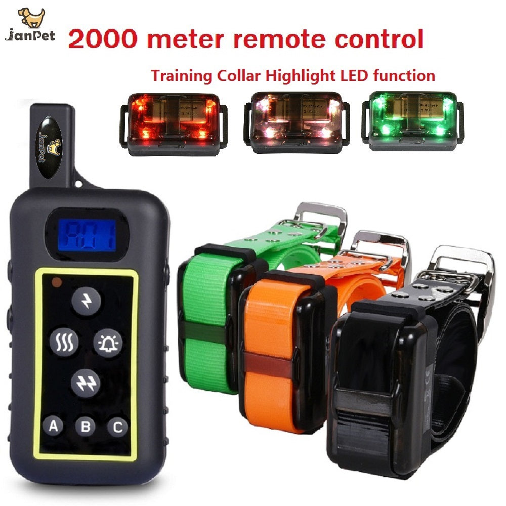 JANPET 2000meters Remote Control Hunting Dog Training Collar Electric Dog Shocking Collar with Hight Light LED function