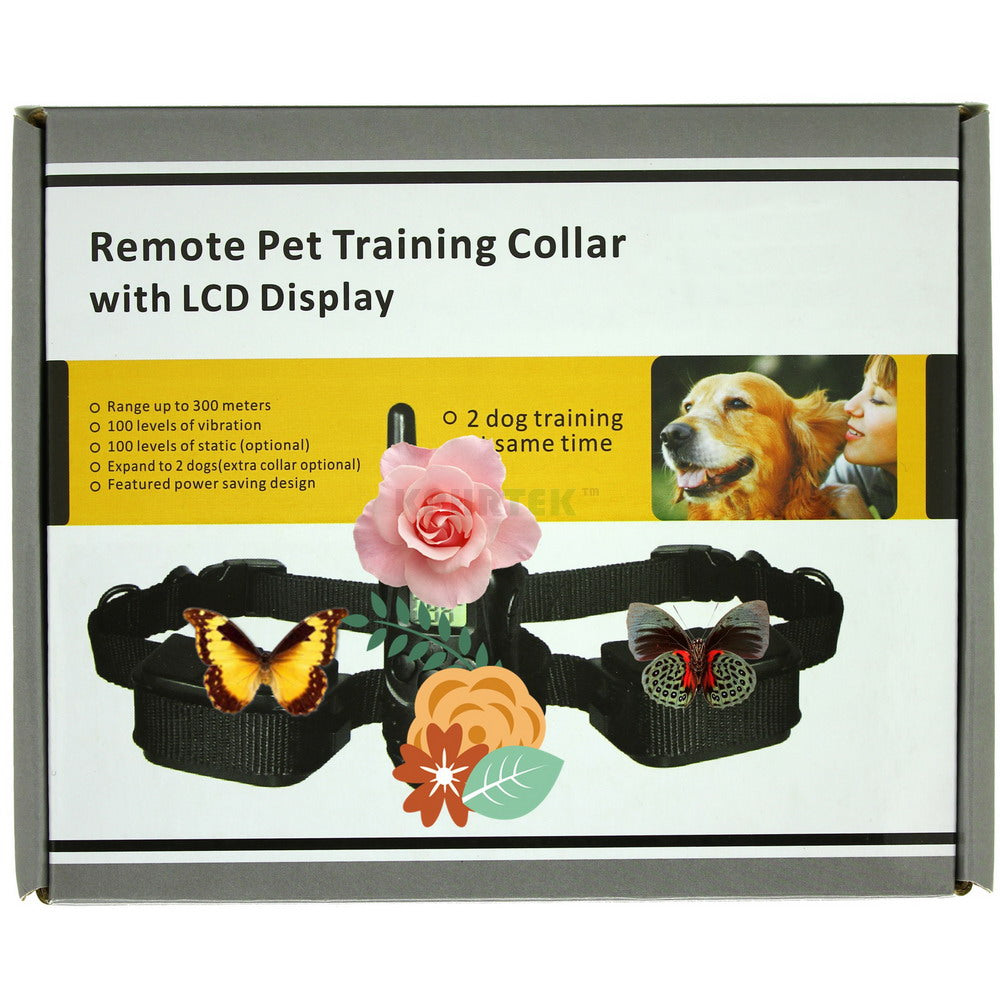 LCD REMOTE 100 Levels of Static Stimulation & 100 Levels of Vibratio Remote Electric Dog Training Collar 998D