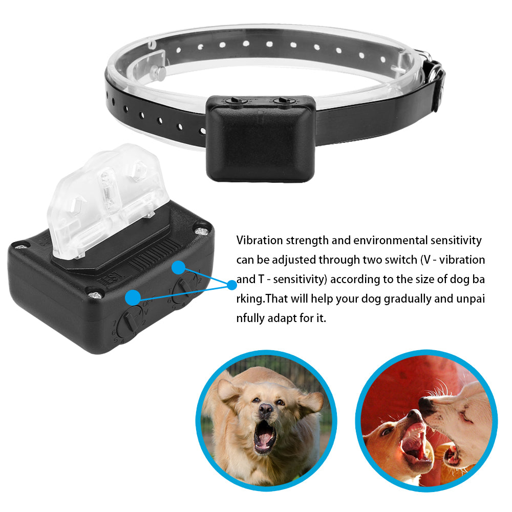 LemonBest Waterproof No Bark Collar No Pain Adjustable Vibration Sensitivity Level Rechargeable Anti-Bark Training Collar forDog