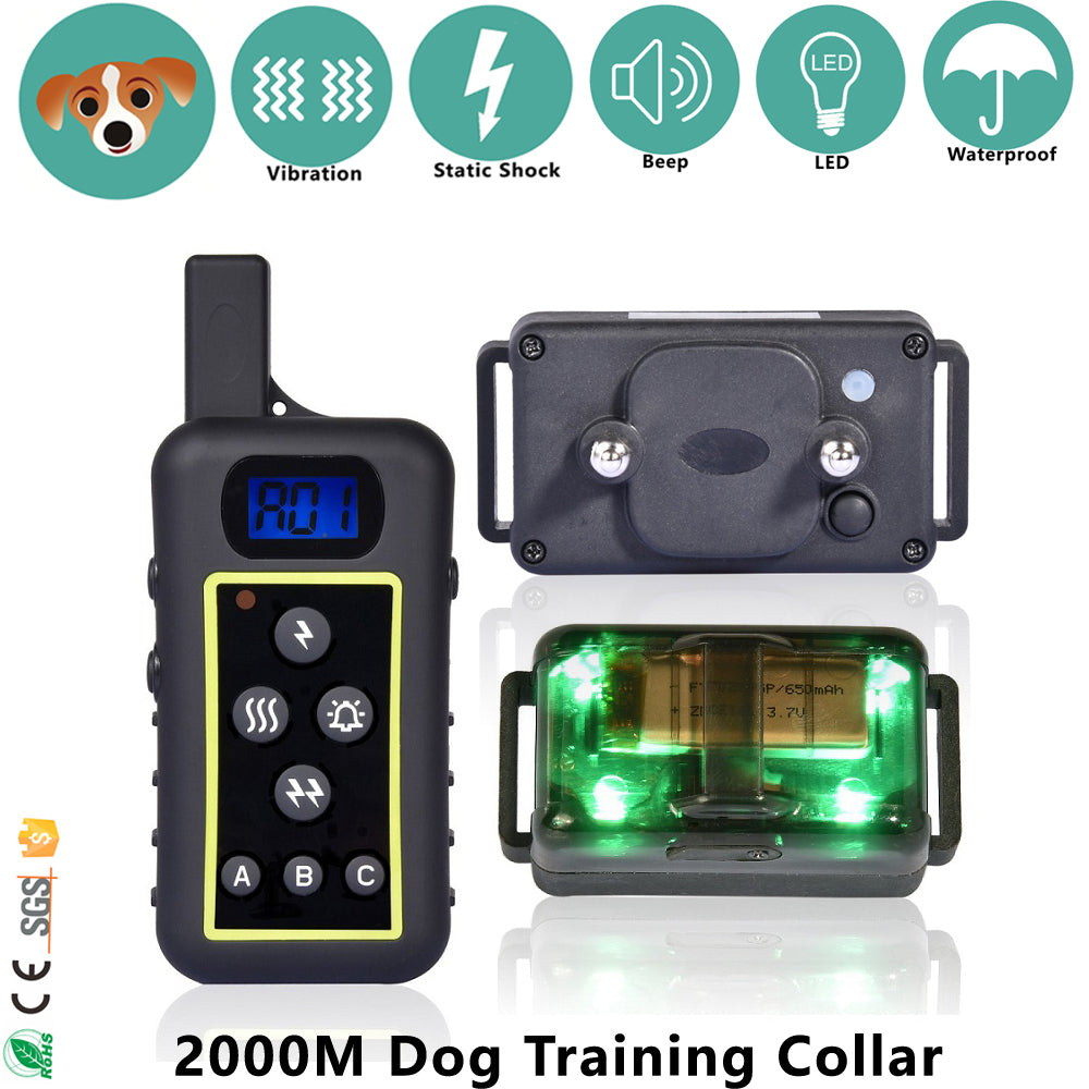 Long 2000M Shock Vibra Remote Dog Training Collar