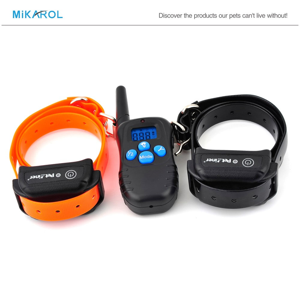NEW 328 yards Rechargeable Waterproof Control Electric Shock Vibra Remote 2 Dog Training Collar