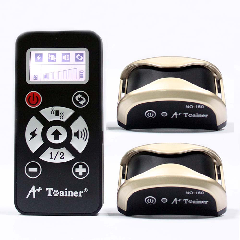 New 2 in 1 dog training collars vibration electric shock sound Automatic anti bark collar  IP7 waterproof remote for pet dogs