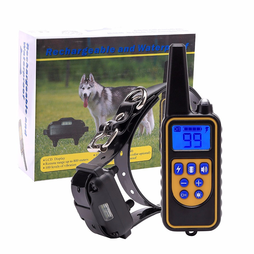 New Remote Dog Training Collar with 800 M Range Rechargeable and IPX7 Rainproof Dog Shock Collar with Beep Vibration and Shock