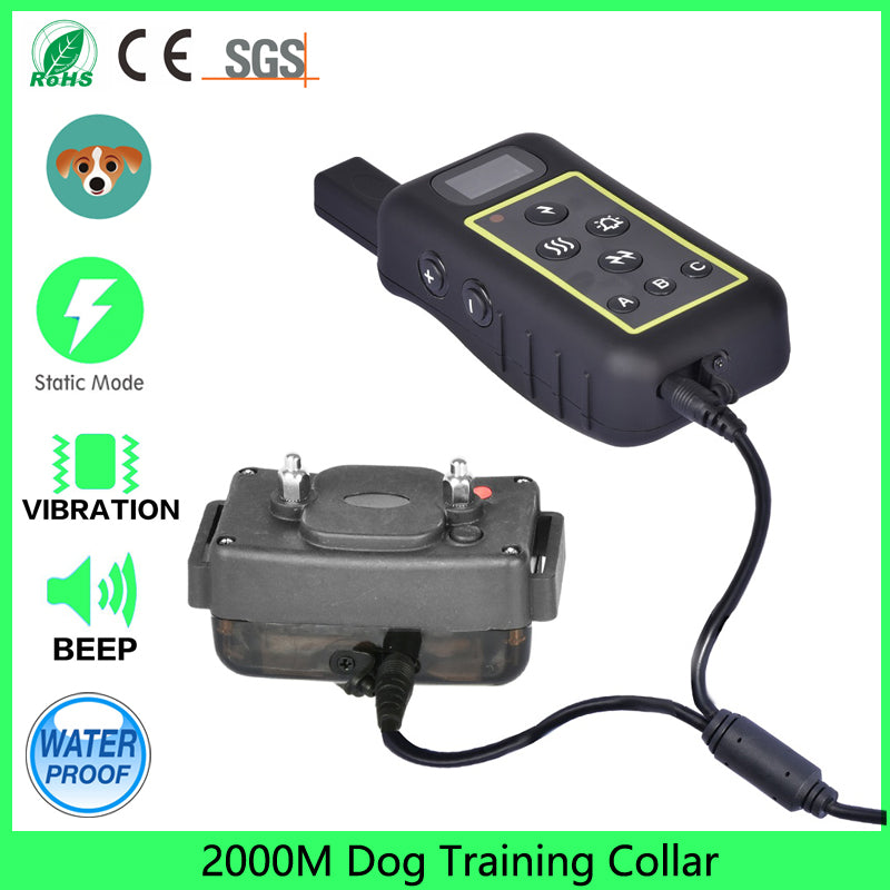 Newest Hot Sale 2000M Rechargeable And Waterproof Shock Vibra Remote Control LCD Electric Dog Training Collar