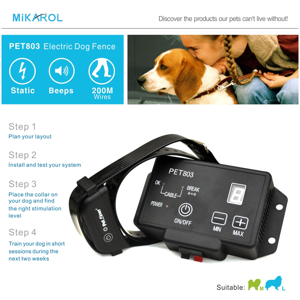 PET803 dog training shock collar waterproof electronic pet fence safety dog collar electric 200m wireless invisible fence system