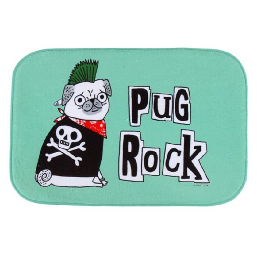 Pug Rock Dog Mat Outdoor Indoor Floor Anti Slip Decor