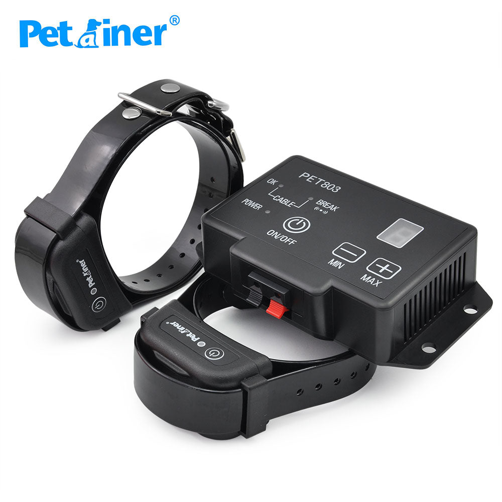 Petrainer 803-2 Wireless Containment System Electric Fence Dog Training Collar For 2 Dogs