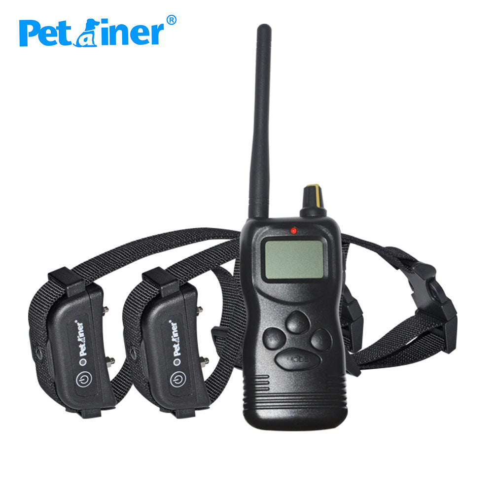 Petrainer 900B-2 1000M LCD Electric Remote 2 Dogs Training Collar Dog Rechargeable For 2 Dogs