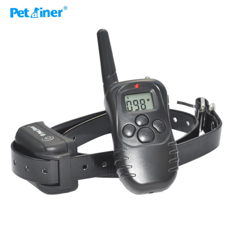 Petrainer 998DB-1BL 300M Range LCD Screen Rechargeable Dogs Shock Electronic Collar Training Necklace With Waterproof Receiver