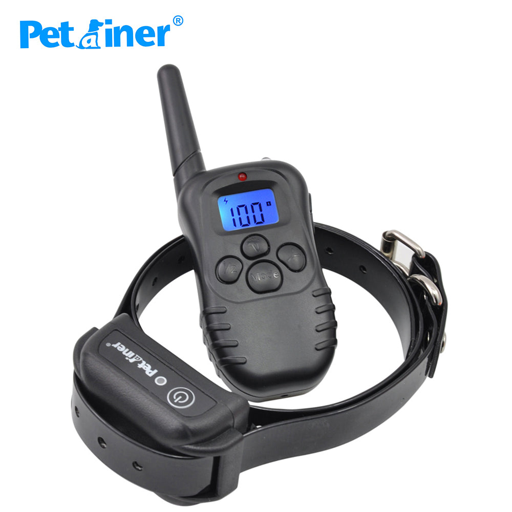 Petrainer 998DB-1BL 300M Remote Control Dog Training Rechargeable Waterproof Electric Shock Collar Wih Blue Screen Dispaly
