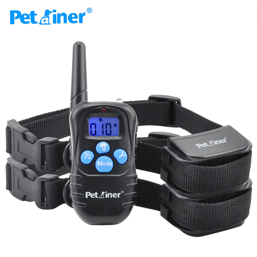 Petrainer 998DRB-2 Remote Training Rechargeable and Rainproof Dog Training Collar with Beep, Vibration and Shock For 2 Dogs