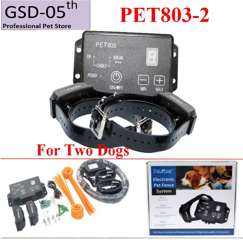 Petrainer PET803 Waterproof Dog Training Collar Fence Collar Rechargeable Shock Beep Up to 2500 Square Meters Range For 2 dog