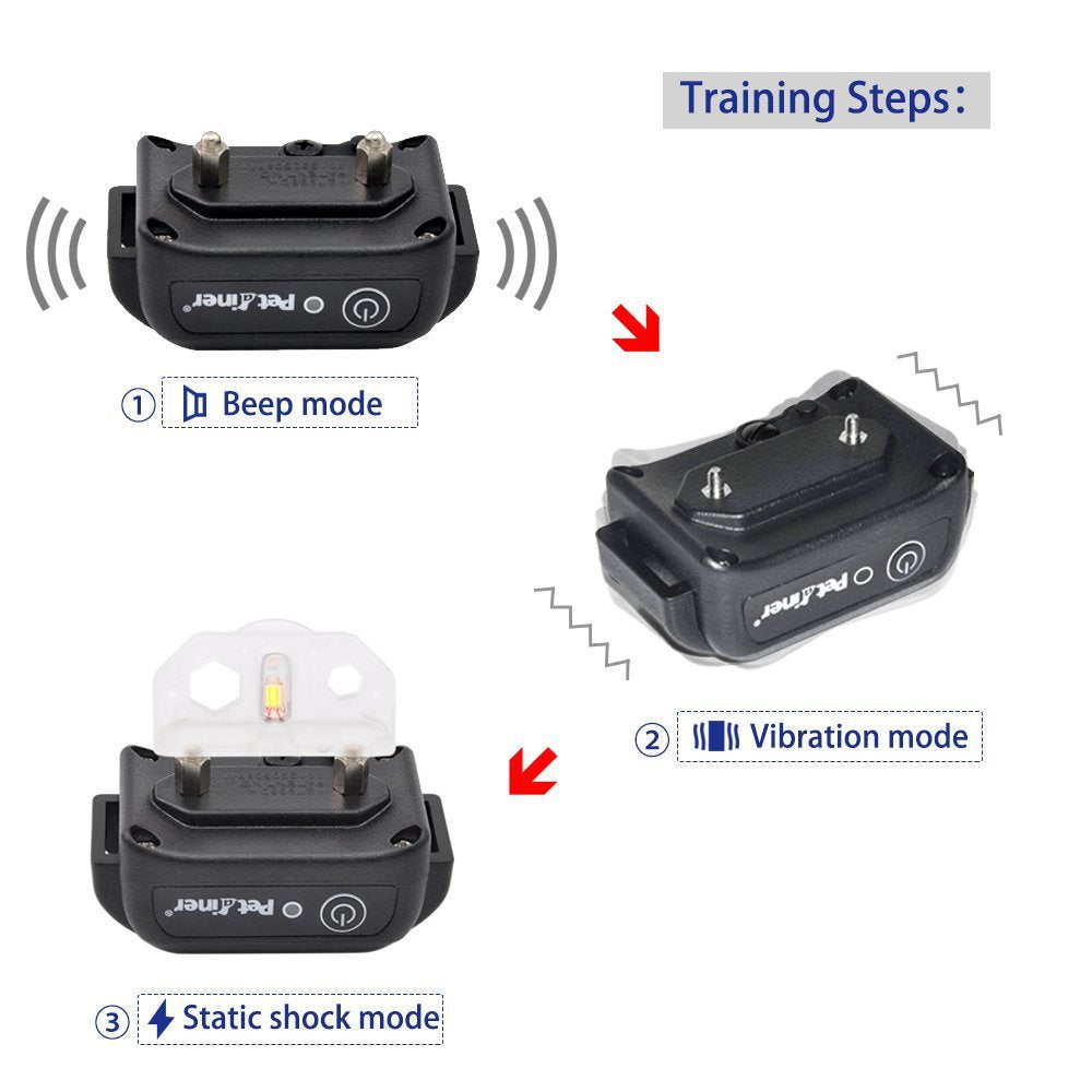 Petrainer PET916 330 yd Remote Rechargeable & Waterproof Dog Training Shock Collar with Tone / Vibration / Static Shock E-collar