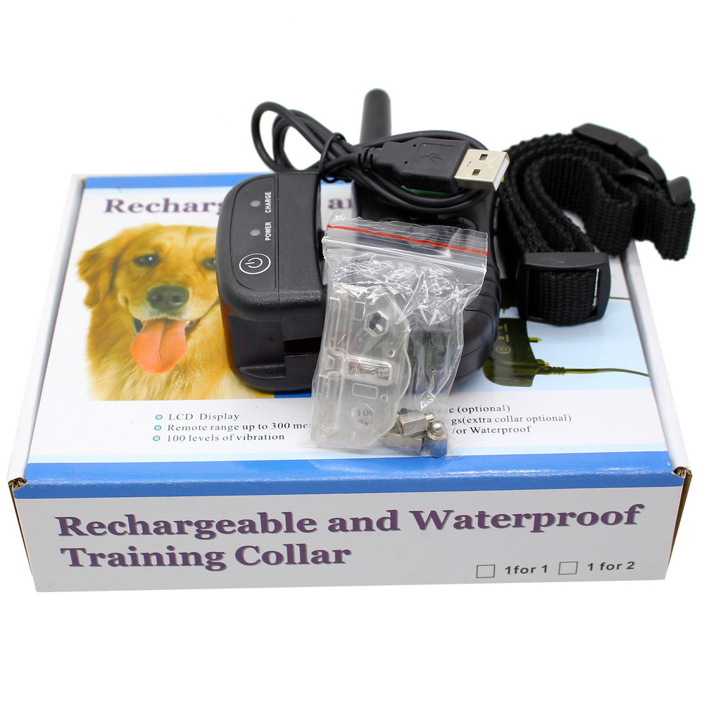 Rechargeable And Full Waterproof Swimming 300meters Remote Electric Shock Anti-bark Pet Dog Training Collar With LCD Display