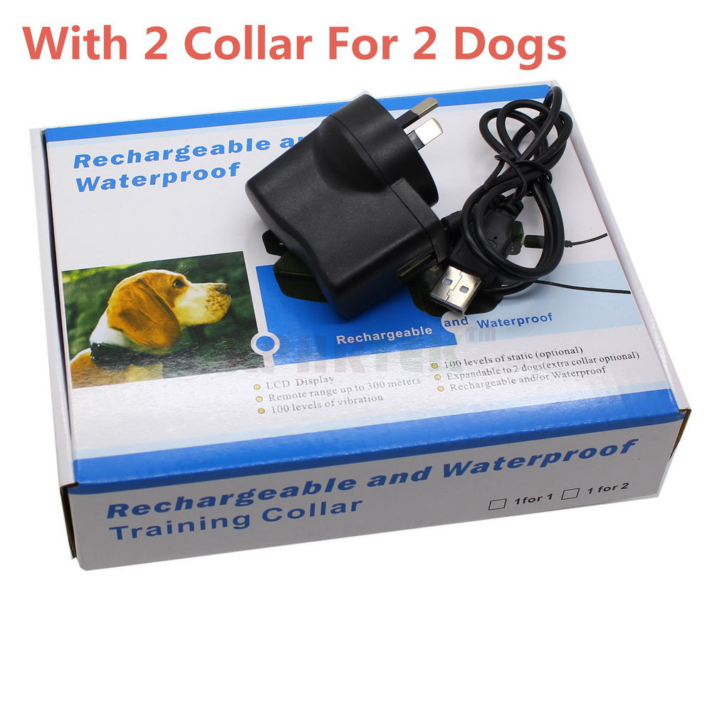 Rechargeable Waterproof Electric Training Collar Remote Control Dog Collar Shock Vibra Electric LCD Display Bark Blue button