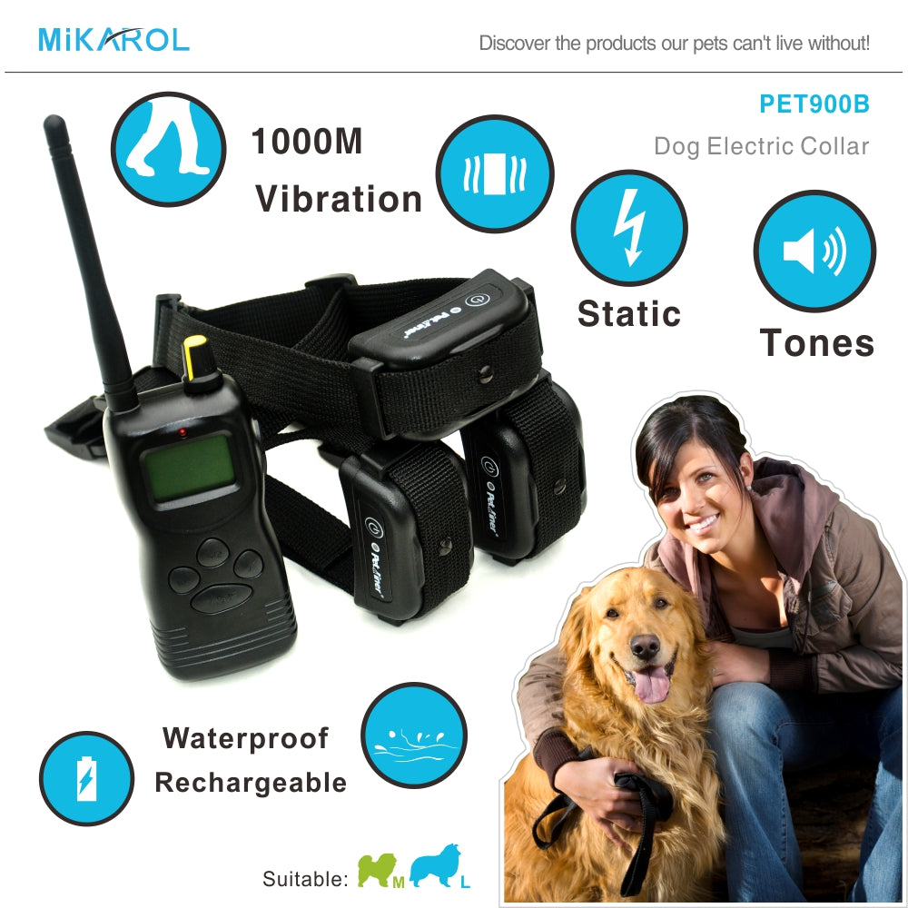 Rechargeable dog electric collar with remote rechargeable pet collar training dogs 1000M remote bark control