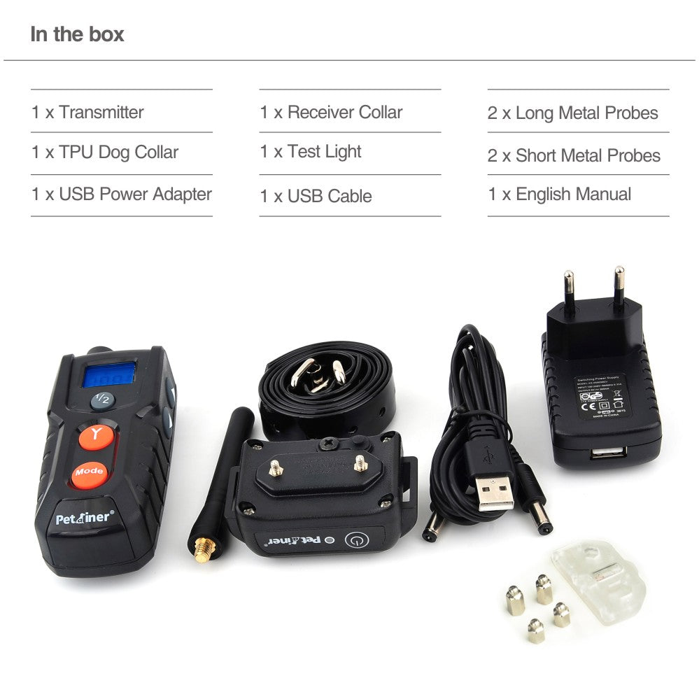 Rechargeable dog pet training remote training and beeper pet dog e-collar electric shock vibrate lcd pet dog training collar