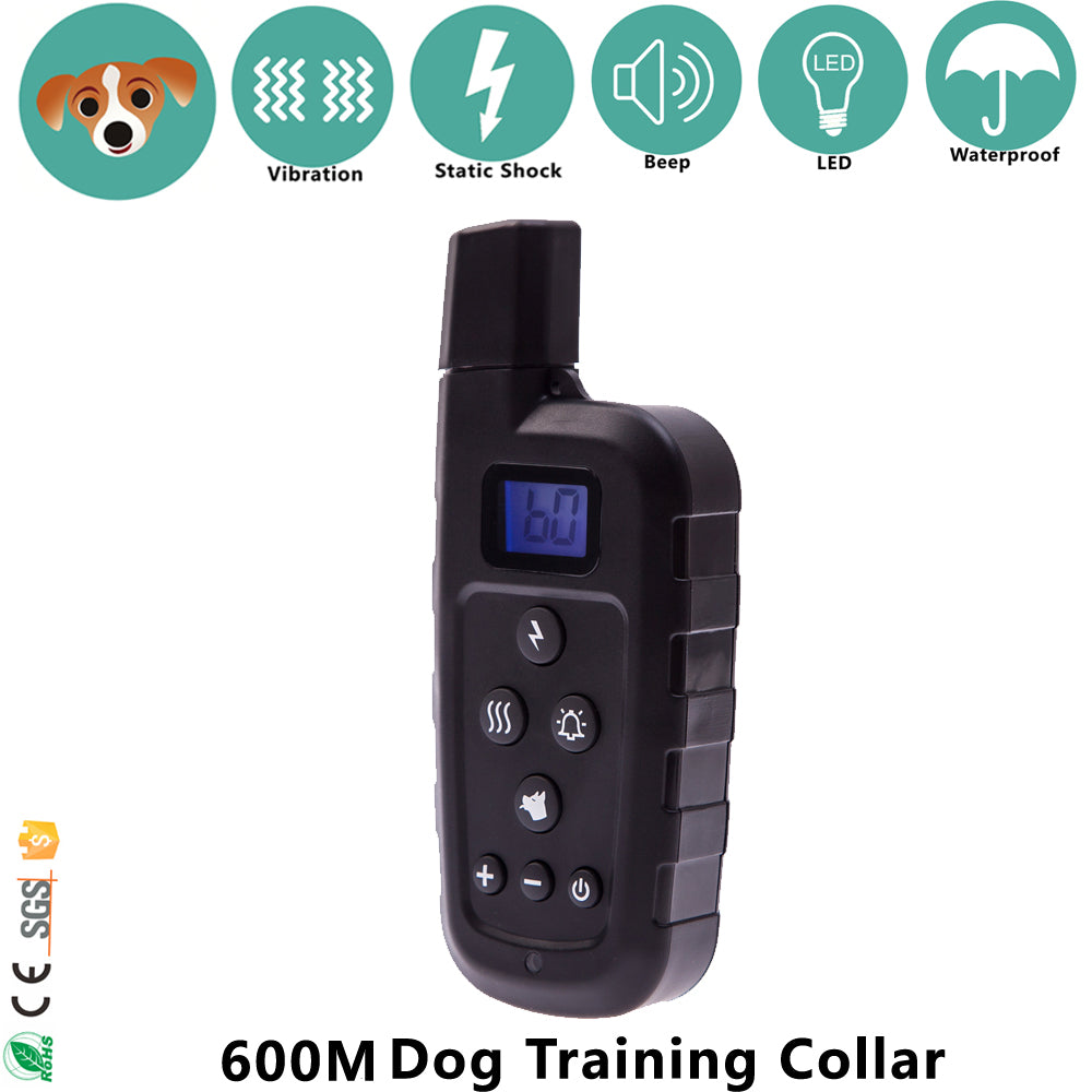 Remote 600m Beep Vibrate Stop Bark Rechargeable Dog Training Shock Collar