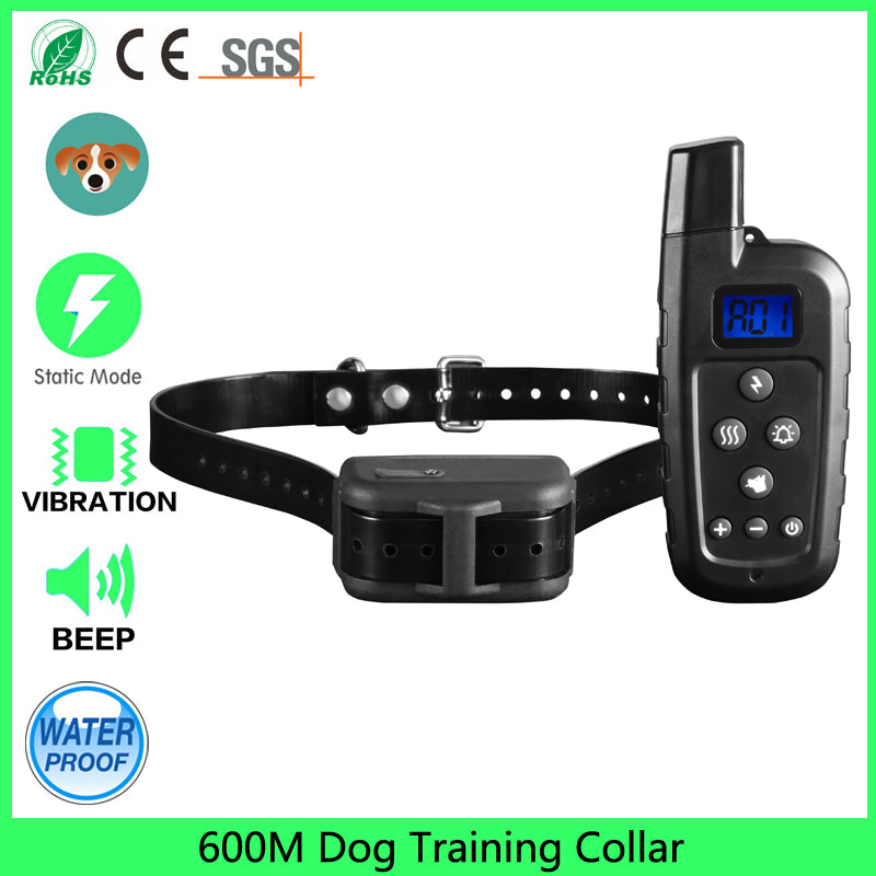 Remote 600m Beep vibration shock dog training collar
