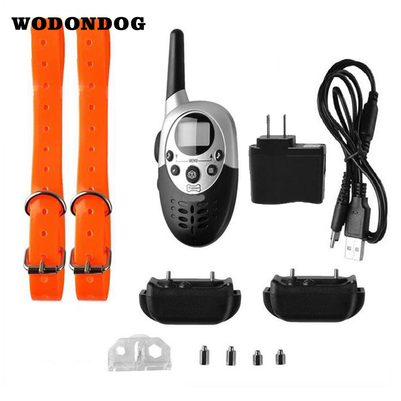 Remote Dog Training Collar Pet Dogs Electric Shock Training Collar Waterproof Rechargeable LCD Remote for Two 2 Dogs