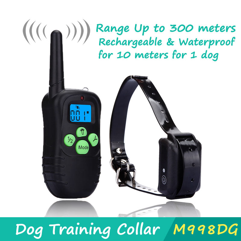 Shock Control Dog Training Collar with blue LED Backlight Rechargeable LCD Remote for 1 dog