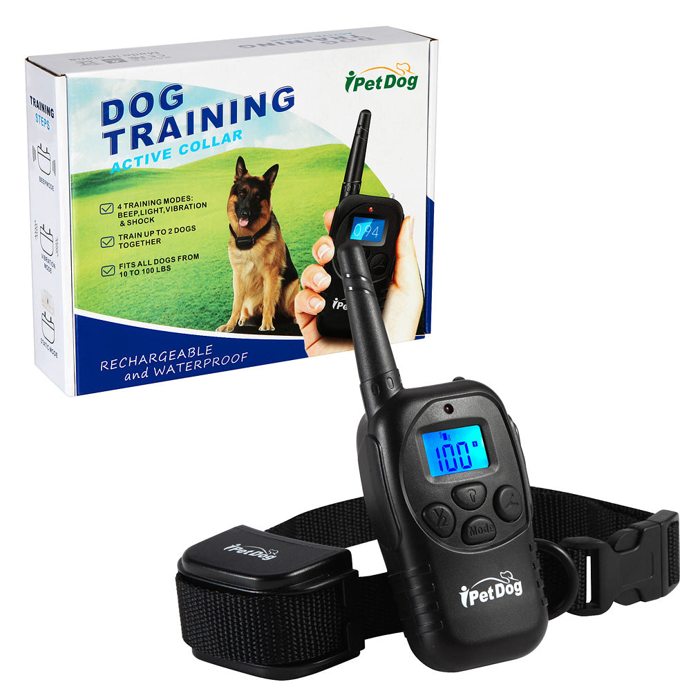 Top ten Alibaba manufacturer 350 Yard 100 Levels Electronic Shock Vibra Remote Rechargeable LCD Pet Dog Training Collar