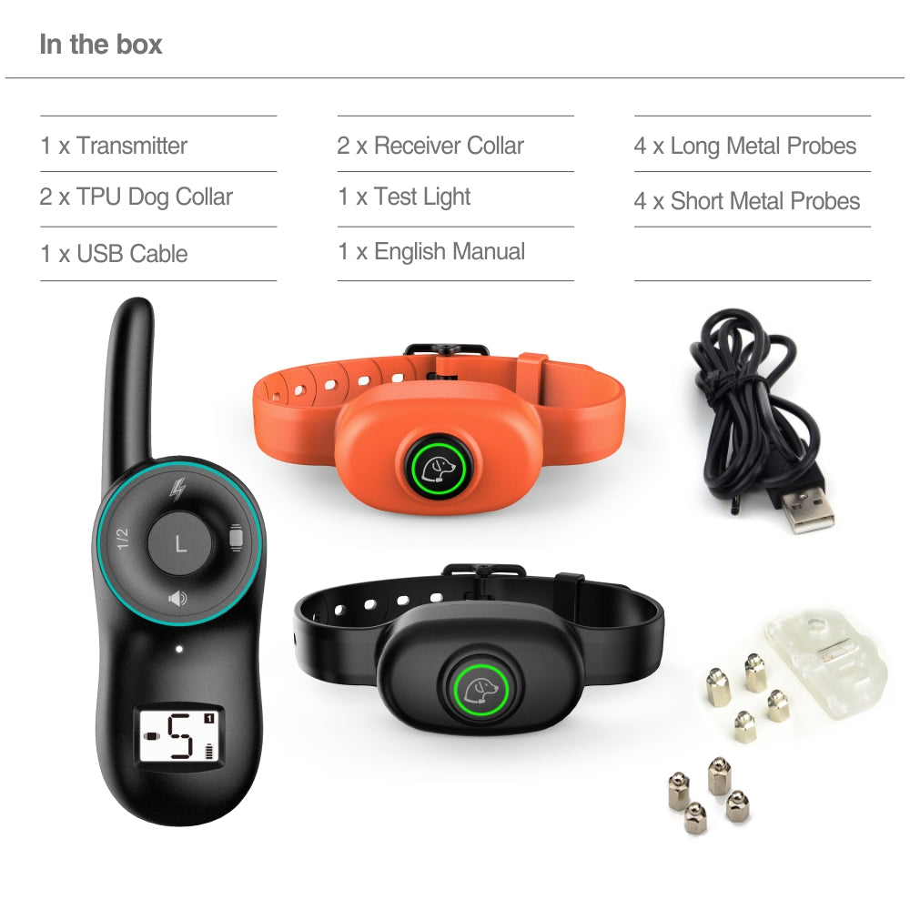 Training Dog Device Remote Bark Control Dog Training Collar Rechargeable Waterproof Pet Trainer Bark Stop for 2 Dogs